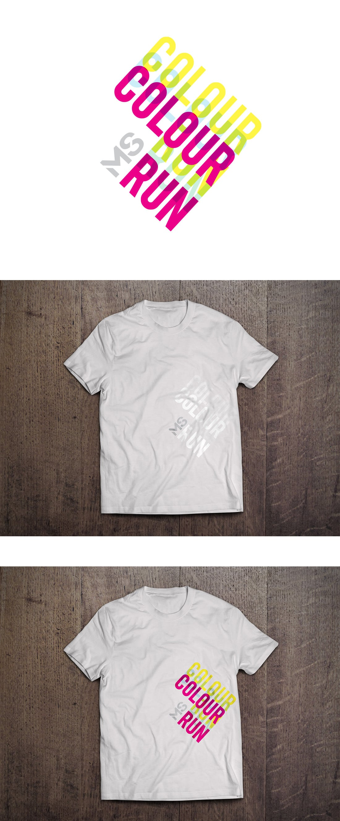 MS Colour run brand identity for 2013 on t-shirts