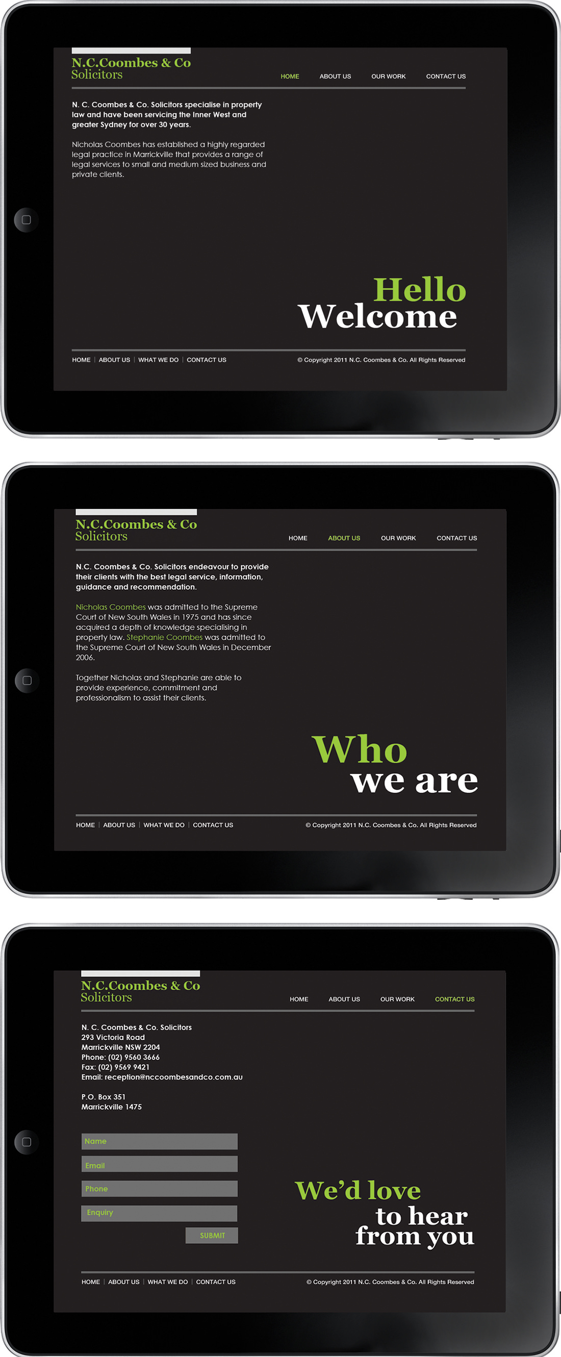 N.C.Coombes & Co Solicitors website