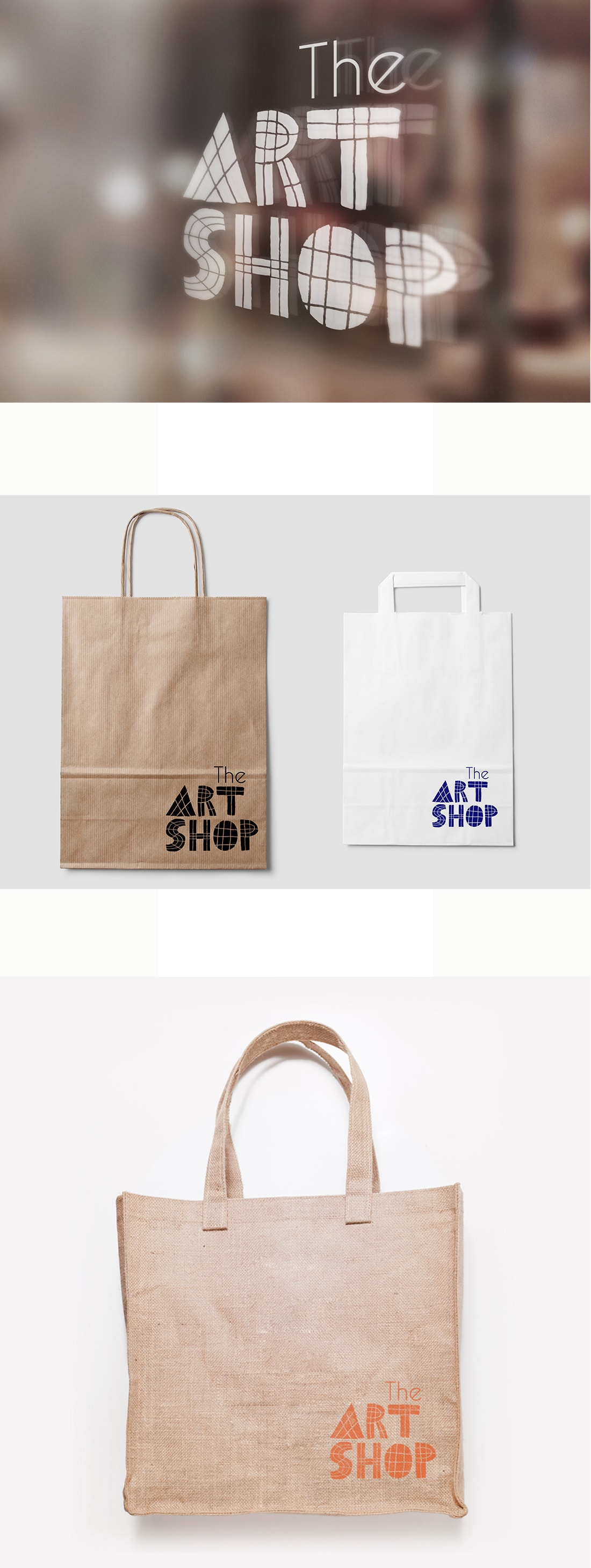 The Art Shop logo displayed on the shop window, canvas and paper bags.
